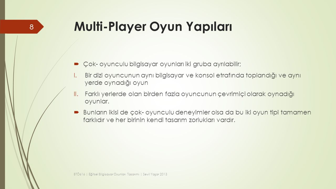 Multi-Player Oyun Yapıları