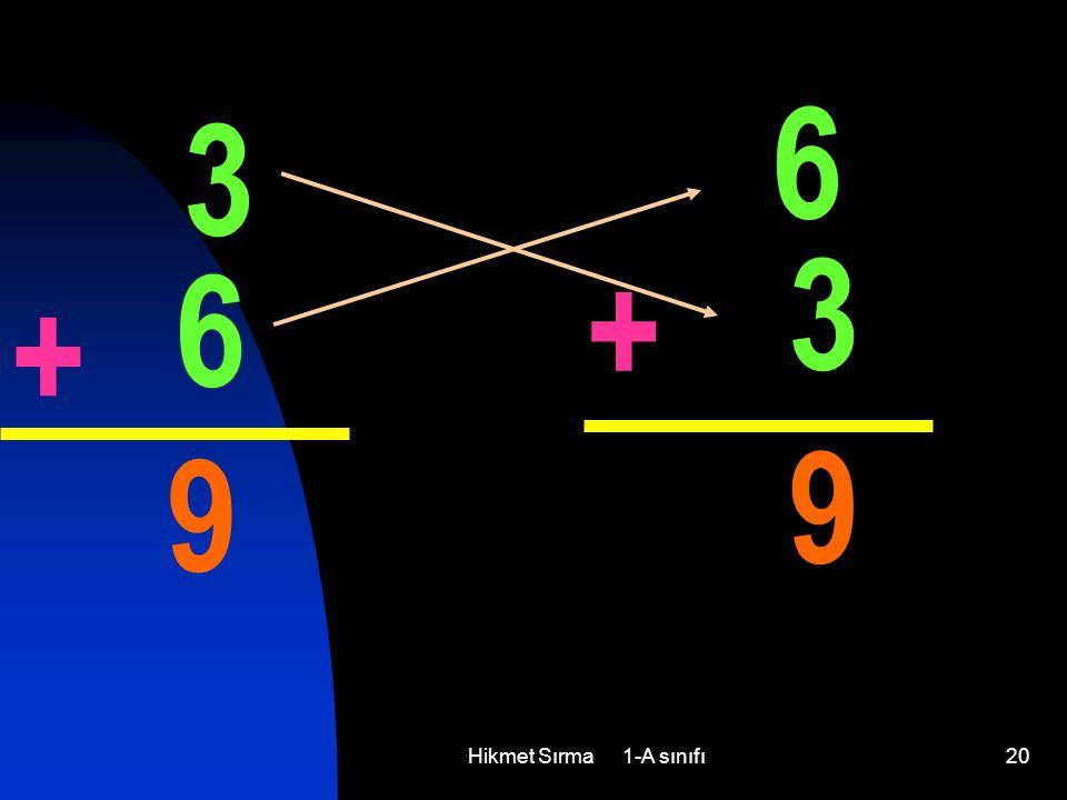 6 3 3 6 + + 9 9 Hikmet Sırma 1-A sınıfı