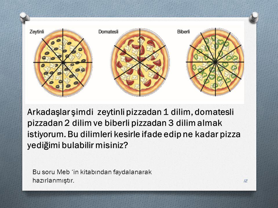Arkadaşlar şimdi zeytinli pizzadan 1 dilim, domatesli pizzadan 2 dilim ve biberli pizzadan 3 dilim almak istiyorum. Bu dilimleri kesirle ifade edip ne kadar pizza yediğimi bulabilir misiniz