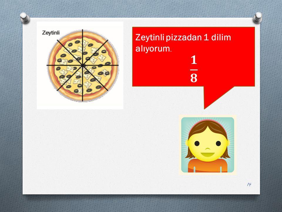 Zeytinli pizzadan 1 dilim alıyorum.