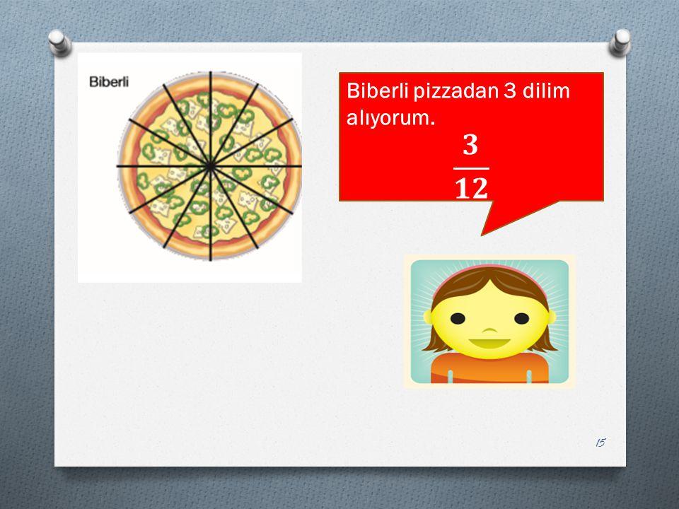 Biberli pizzadan 3 dilim alıyorum.
