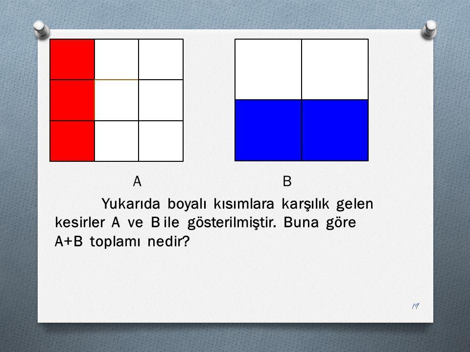 A B Yukarıda boyalı kısımlara karşılık gelen kesirler A ve B ile gösterilmiştir.