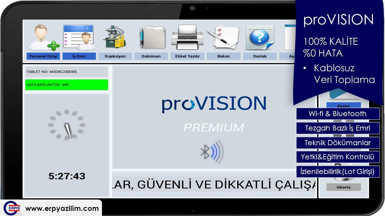 proVISION 100% KALİTE %0 HATA Kablosuz Veri Toplama Wi-fi & Bluetooth
