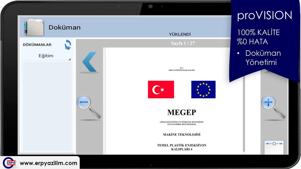 proVISION 100% KALİTE %0 HATA Doküman Yönetimi www.erpyazilim.com