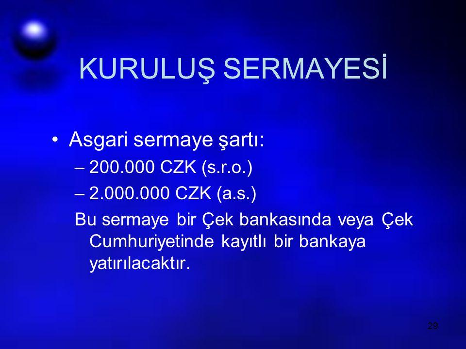 KURULUŞ SERMAYESİ Asgari sermaye şartı: 200.000 CZK (s.r.o.)