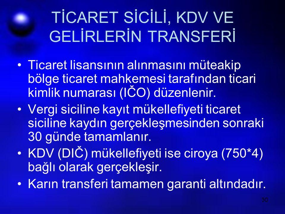 TİCARET SİCİLİ, KDV VE GELİRLERİN TRANSFERİ