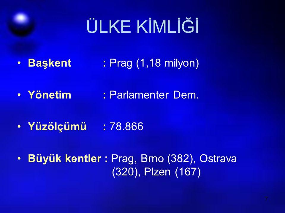ÜLKE KİMLİĞİ Başkent : Prag (1,18 milyon) Yönetim : Parlamenter Dem.