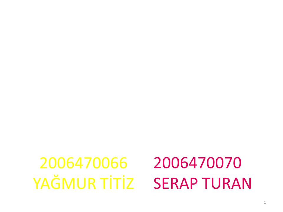 2006470066 YAĞMUR TİTİZ 2006470070 SERAP TURAN