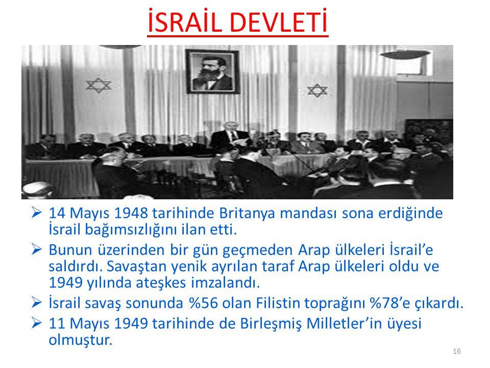 İSRAİL DEVLETİ 14 Mayıs 1948 tarihinde Britanya mandası sona erdiğinde İsrail bağımsızlığını ilan etti.