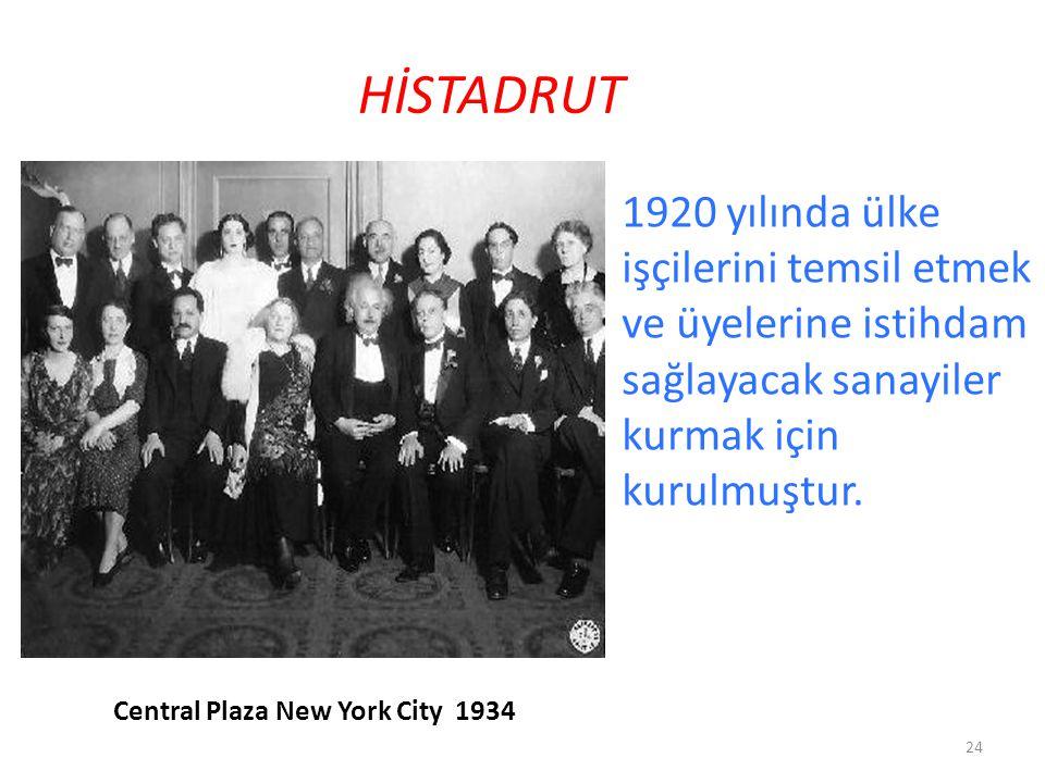 HİSTADRUT 1920 yılında ülke işçilerini temsil etmek ve üyelerine istihdam sağlayacak sanayiler kurmak için kurulmuştur.