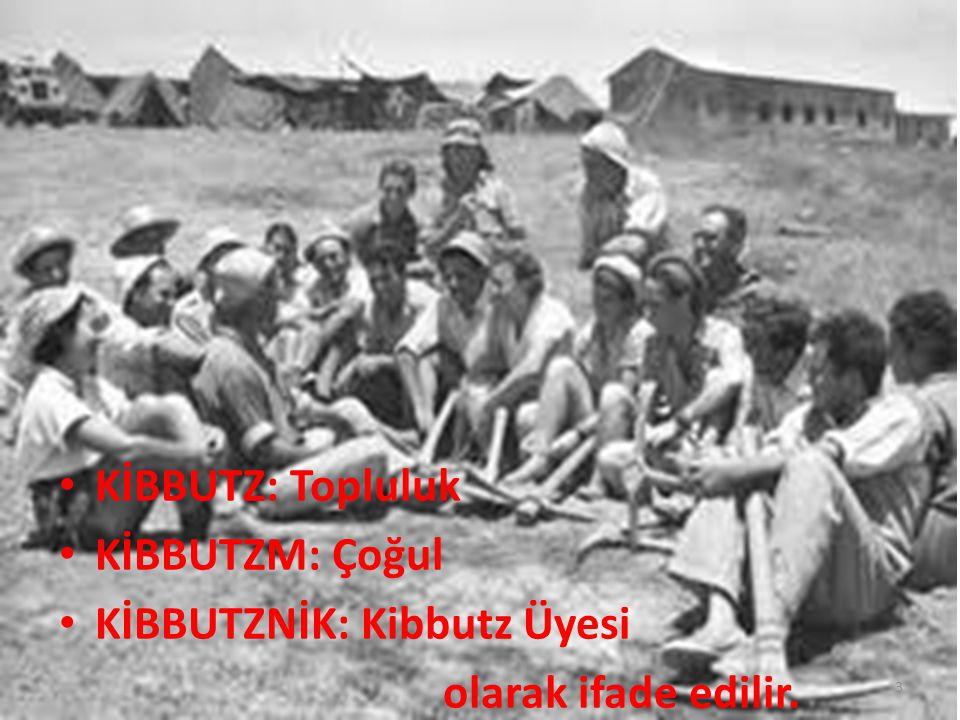 KİBBUTZ: Topluluk KİBBUTZM: Çoğul KİBBUTZNİK: Kibbutz Üyesi olarak ifade edilir.