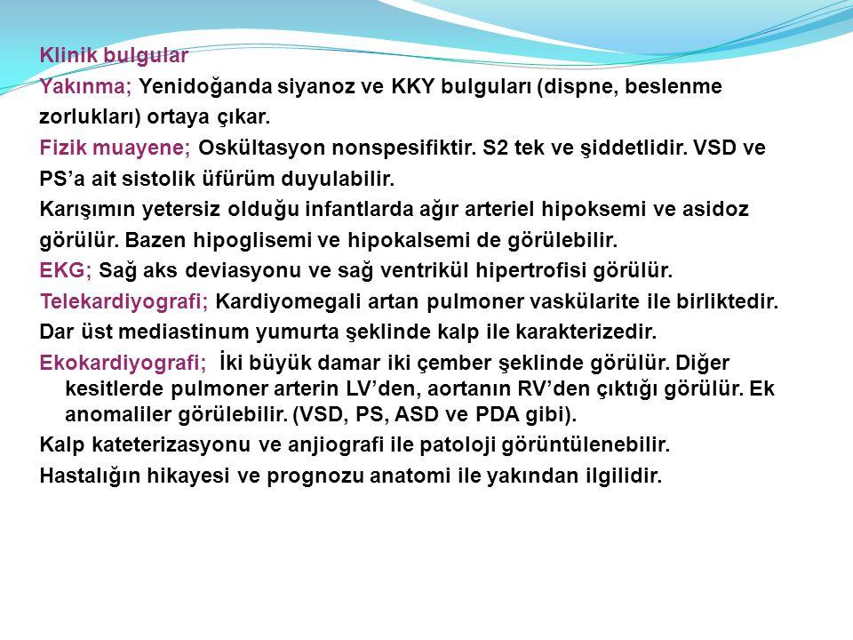 Klinik bulgular Yakınma; Yenidoğanda siyanoz ve KKY bulguları (dispne, beslenme. zorlukları) ortaya çıkar.