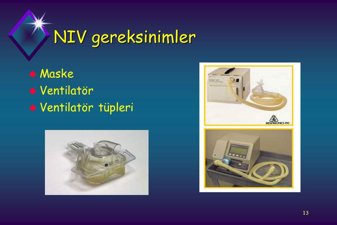 NIV gereksinimler Maske Ventilatör Ventilatör tüpleri