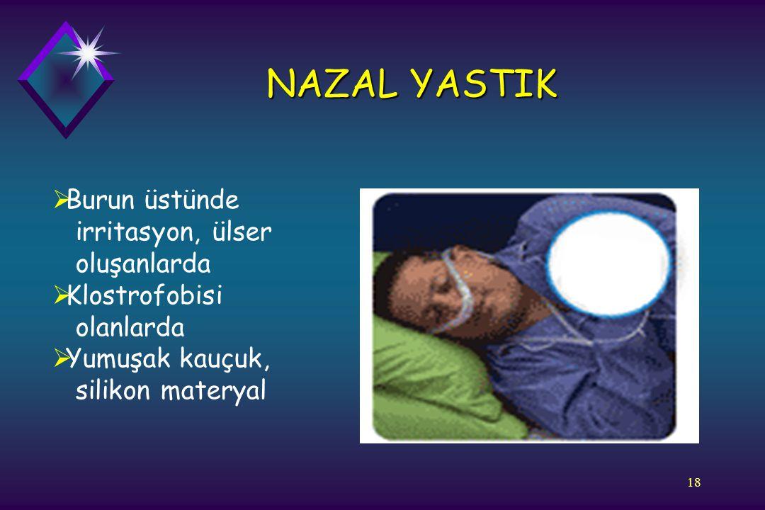 NAZAL YASTIK Burun üstünde irritasyon, ülser oluşanlarda Klostrofobisi