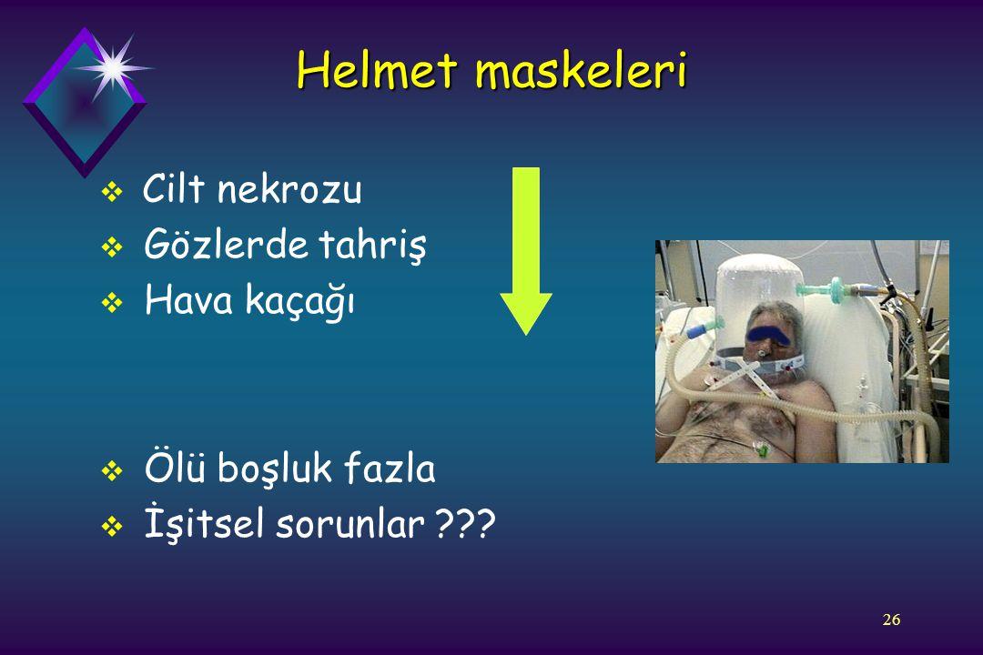 Helmet maskeleri Cilt nekrozu Gözlerde tahriş Hava kaçağı