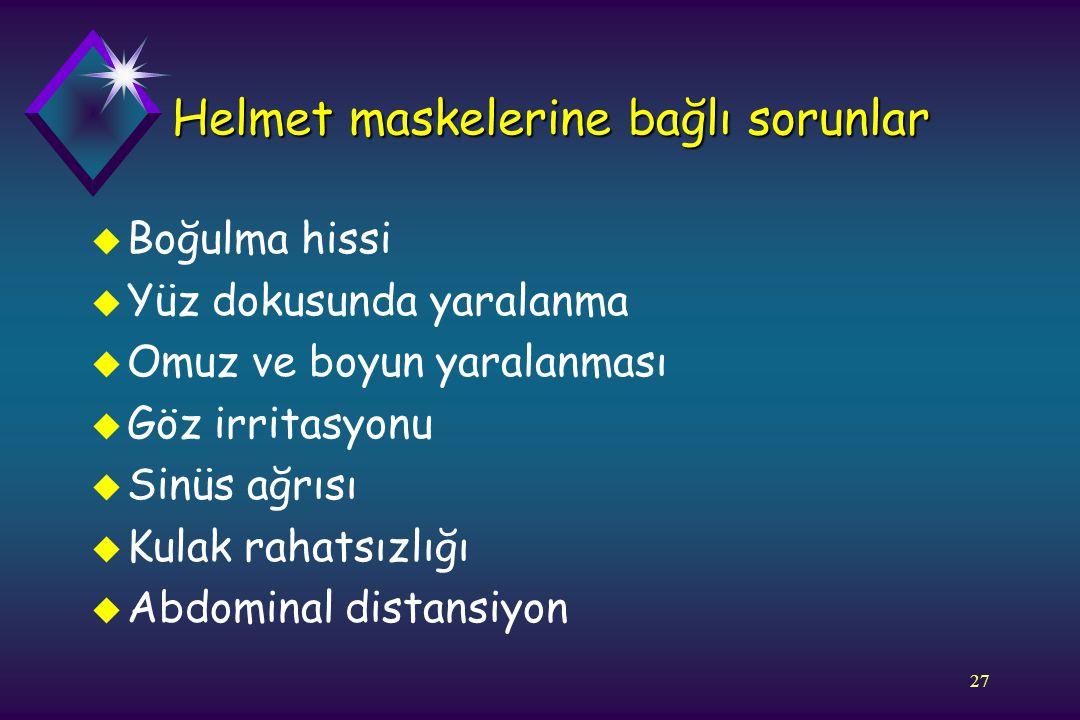 Helmet maskelerine bağlı sorunlar