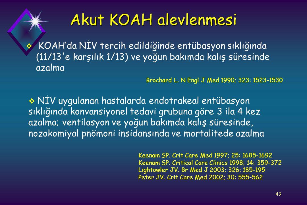 Akut KOAH alevlenmesi KOAH'da NİV tercih edildiğinde entübasyon sıklığında (11/13 e karşılık 1/13) ve yoğun bakımda kalış süresinde azalma.