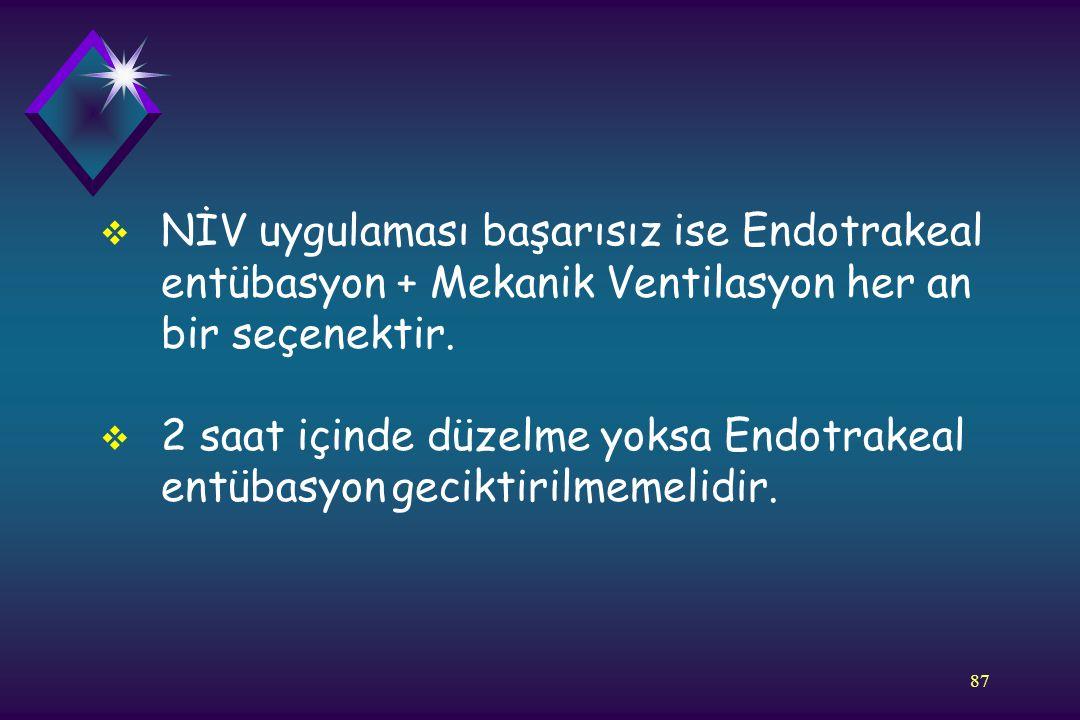 NİV uygulaması başarısız ise Endotrakeal entübasyon + Mekanik Ventilasyon her an bir seçenektir.