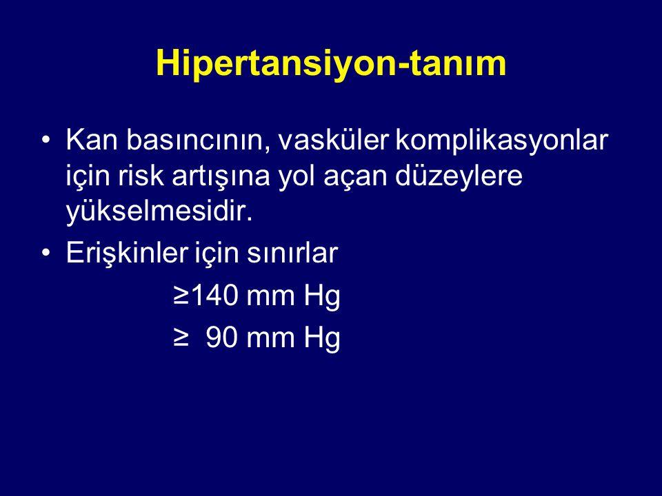 Hipertansiyon-tanım Kan basıncının, vasküler komplikasyonlar için risk artışına yol açan düzeylere yükselmesidir.