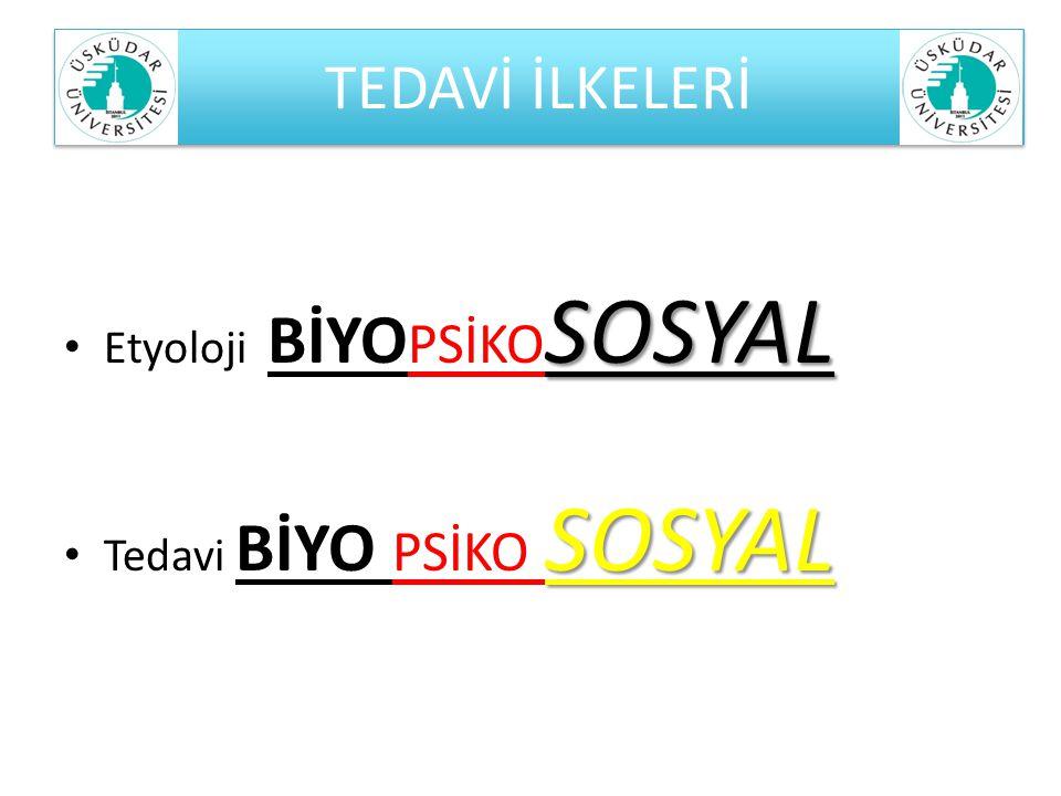 TEDAVİ İLKELERİ Etyoloji BİYOPSİKOSOSYAL Tedavi BİYO PSİKO SOSYAL
