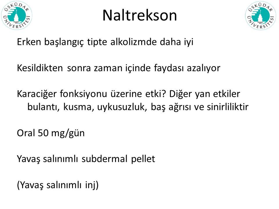 Naltrekson Erken başlangıç tipte alkolizmde daha iyi