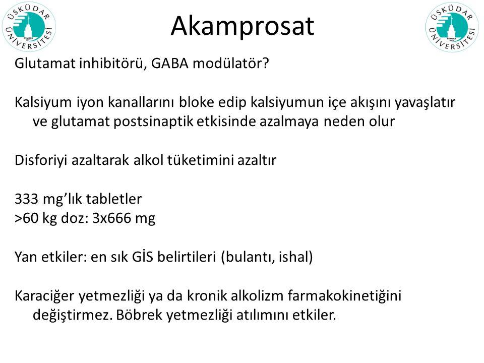 Akamprosat Glutamat inhibitörü, GABA modülatör