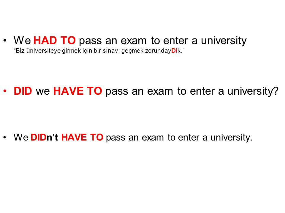 DID we HAVE TO pass an exam to enter a university