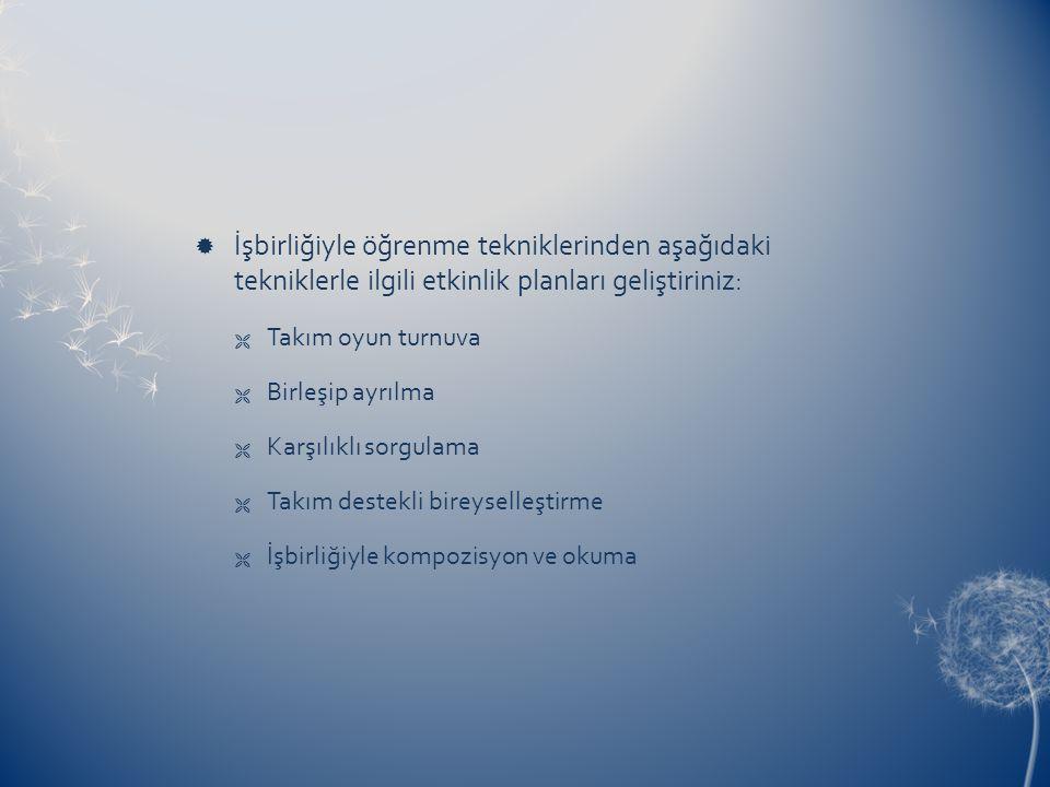 İşbirliğiyle öğrenme tekniklerinden aşağıdaki tekniklerle ilgili etkinlik planları geliştiriniz:
