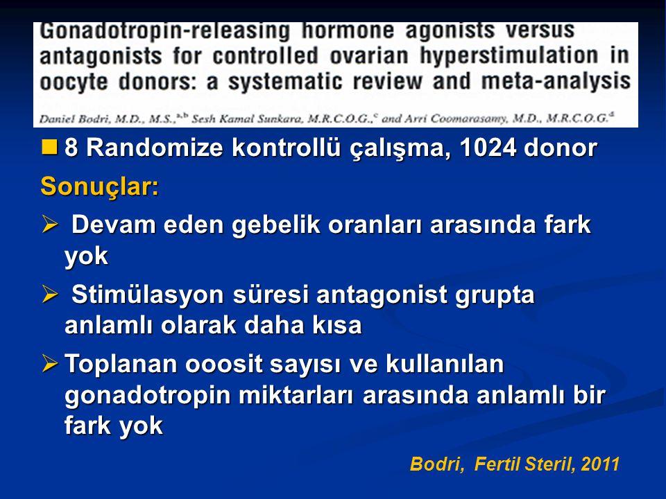 8 Randomize kontrollü çalışma, 1024 donor Sonuçlar: