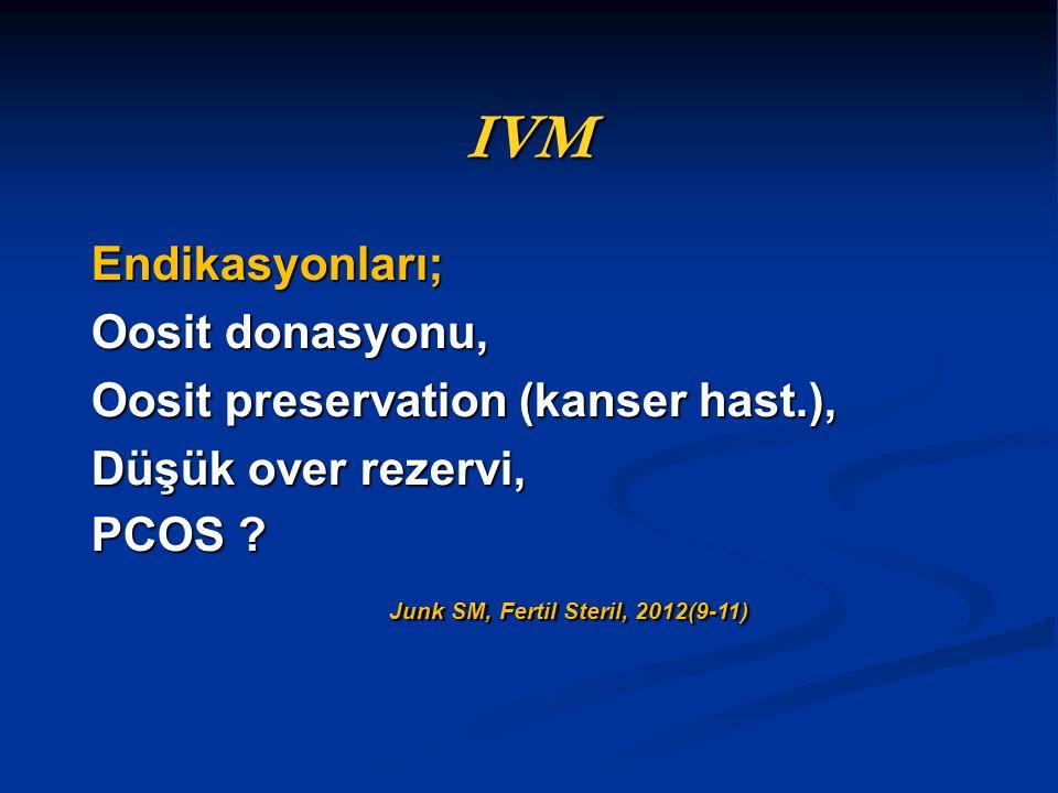 IVM Endikasyonları; Oosit donasyonu,