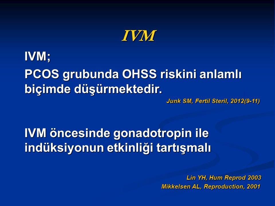 IVM IVM; PCOS grubunda OHSS riskini anlamlı biçimde düşürmektedir.