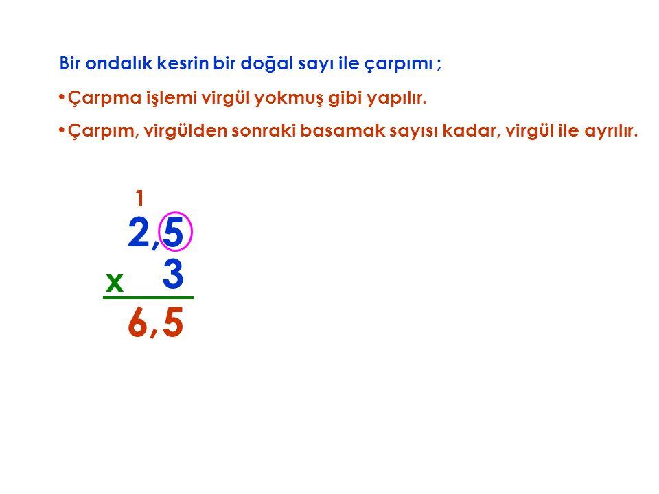 2,5 3 6 , 5 x 1 Bir ondalık kesrin bir doğal sayı ile çarpımı ;