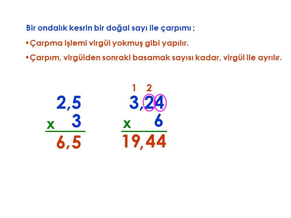 Bir ondalık kesrin bir doğal sayı ile çarpımı ;