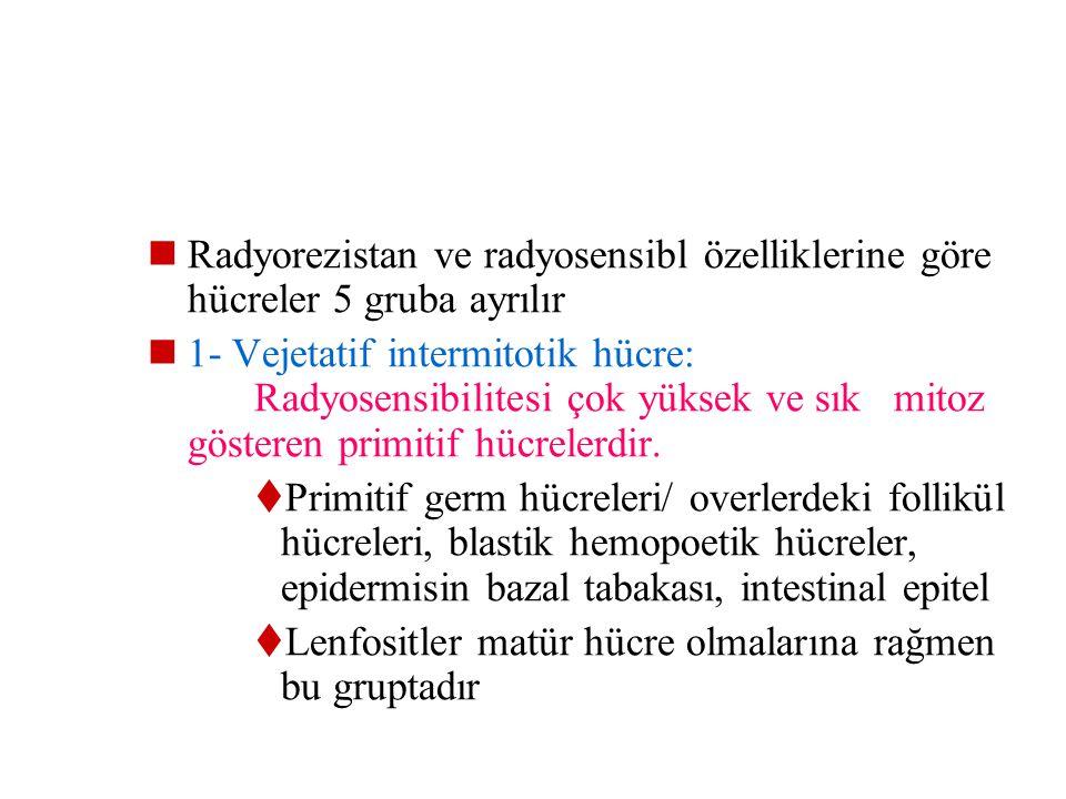 Radyorezistan ve radyosensibl özelliklerine göre hücreler 5 gruba ayrılır