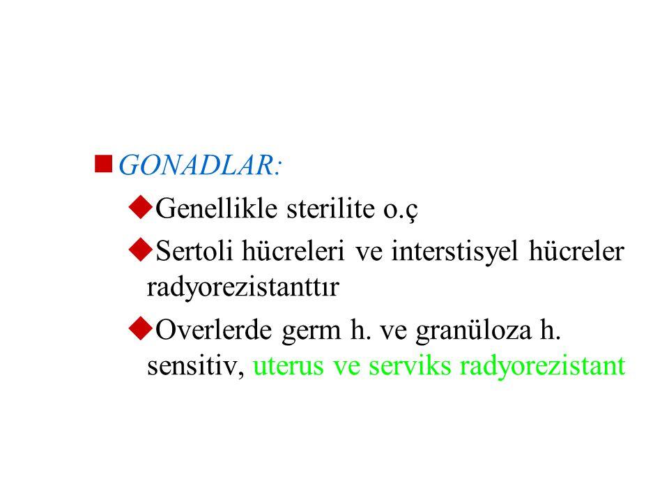GONADLAR: Genellikle sterilite o.ç. Sertoli hücreleri ve interstisyel hücreler radyorezistanttır.