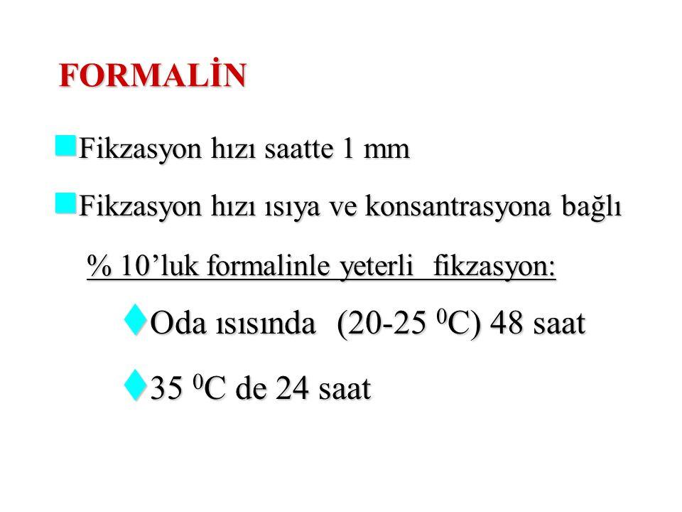 FORMALİN Oda ısısında (20-25 0C) 48 saat 35 0C de 24 saat