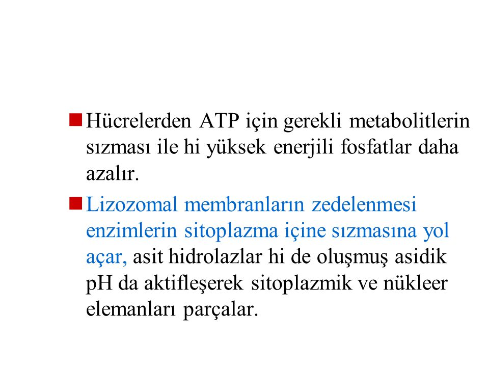 Hücrelerden ATP için gerekli metabolitlerin sızması ile hi yüksek enerjili fosfatlar daha azalır.