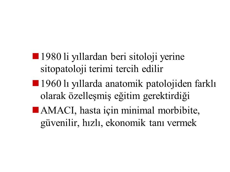1980 li yıllardan beri sitoloji yerine sitopatoloji terimi tercih edilir