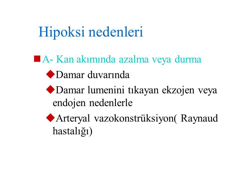 Hipoksi nedenleri A- Kan akımında azalma veya durma Damar duvarında