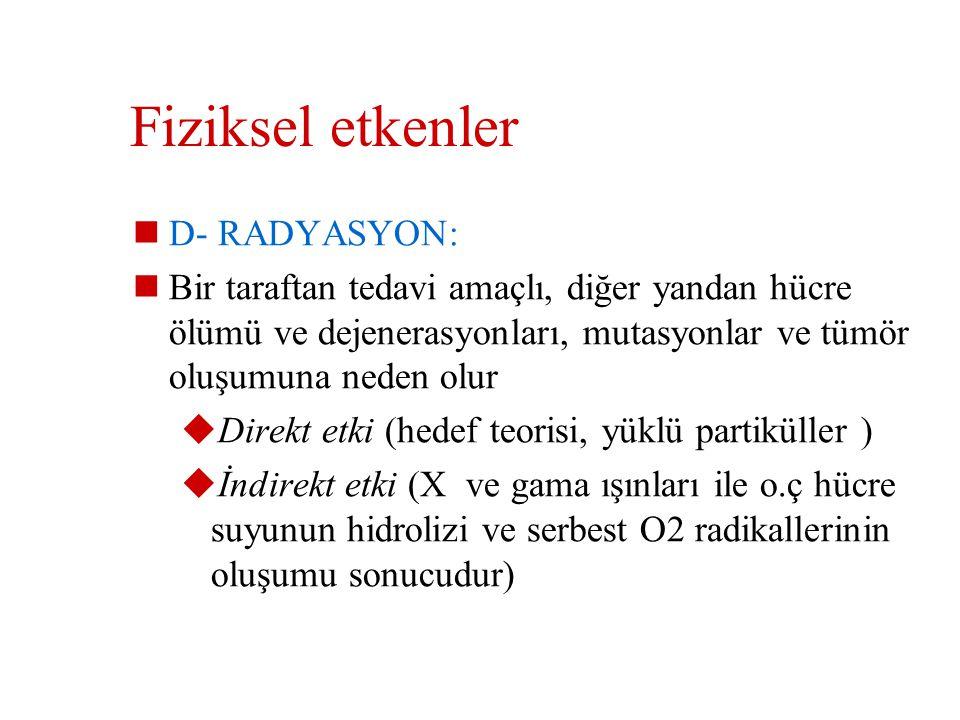Fiziksel etkenler D- RADYASYON: