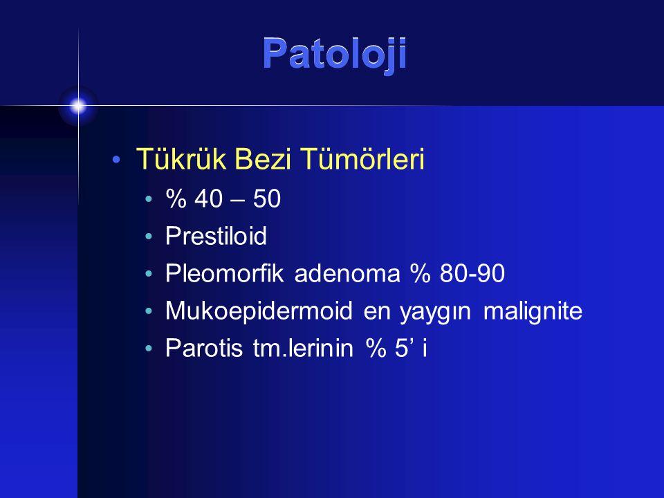 Patoloji Tükrük Bezi Tümörleri % 40 – 50 Prestiloid
