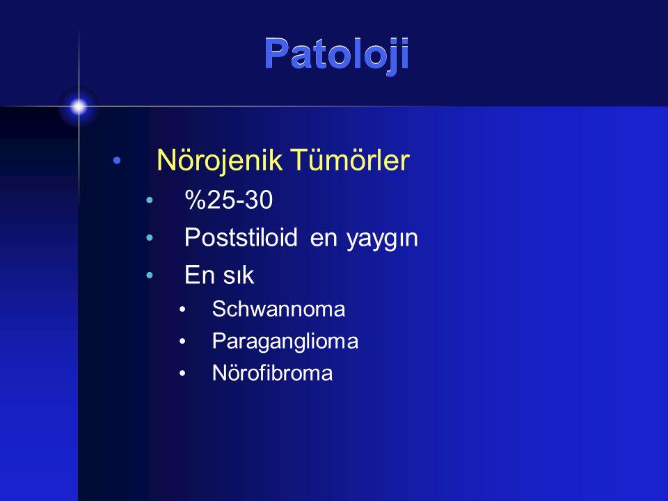 Patoloji Nörojenik Tümörler %25-30 Poststiloid en yaygın En sık
