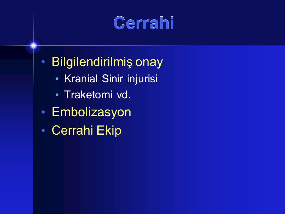 Cerrahi Bilgilendirilmiş onay Embolizasyon Cerrahi Ekip