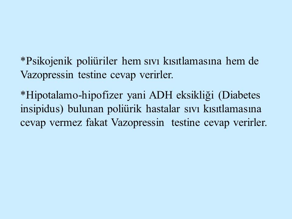 *Psikojenik poliüriler hem sıvı kısıtlamasına hem de Vazopressin testine cevap verirler.