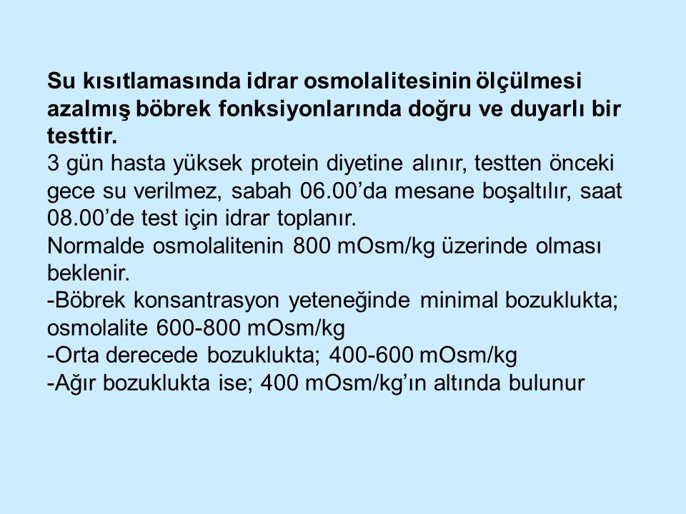 Su kısıtlamasında idrar osmolalitesinin ölçülmesi azalmış böbrek fonksiyonlarında doğru ve duyarlı bir testtir.