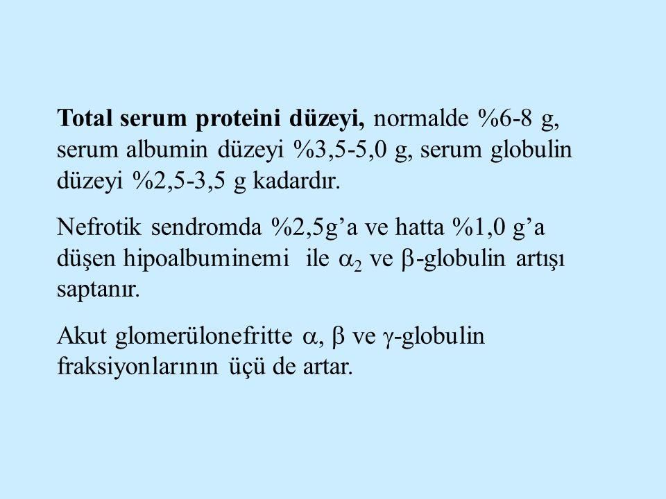 Total serum proteini düzeyi, normalde %6-8 g, serum albumin düzeyi %3,5-5,0 g, serum globulin düzeyi %2,5-3,5 g kadardır.