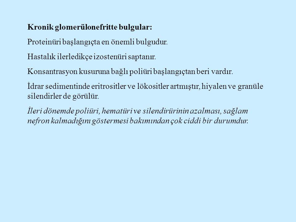 Kronik glomerülonefritte bulgular: