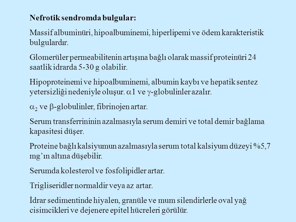 Nefrotik sendromda bulgular: