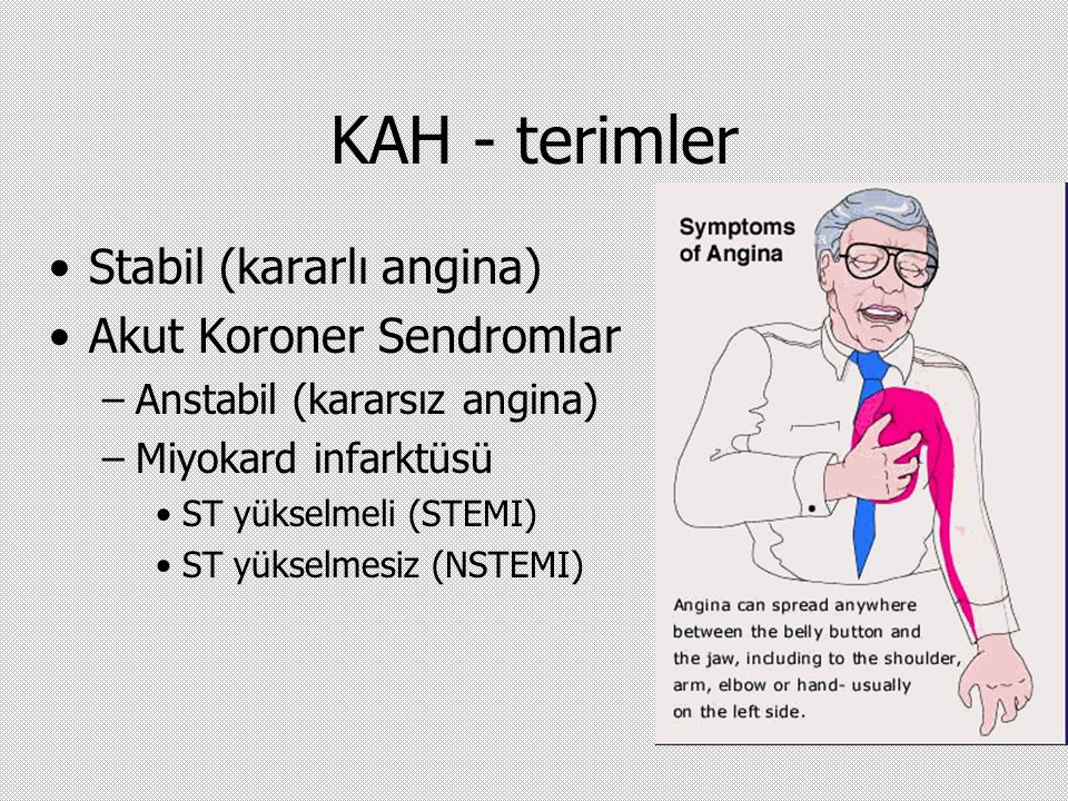 KAH - terimler Stabil (kararlı angina) Akut Koroner Sendromlar