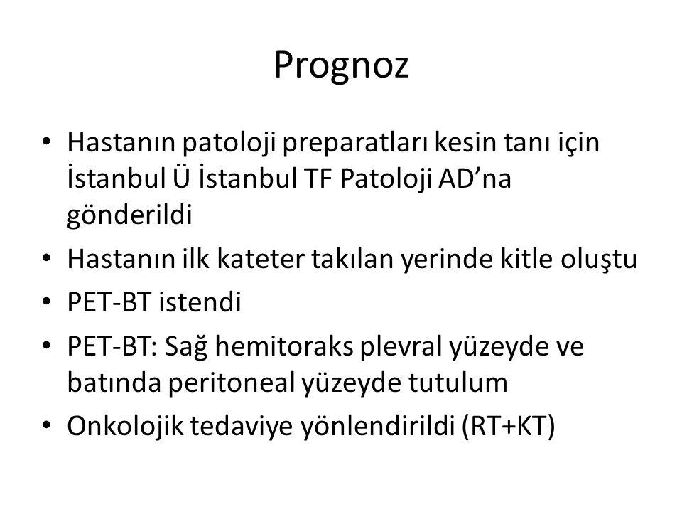 Prognoz Hastanın patoloji preparatları kesin tanı için İstanbul Ü İstanbul TF Patoloji AD'na gönderildi.
